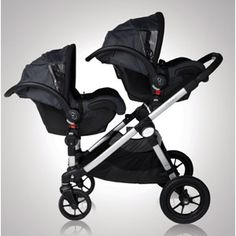 Baby Jogger City Select stroller for infants. If Nicole has twins; twins in car seats and Damien on glider board.