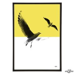 Art & Hue Seagulls Art Print: Minimal Beach Graphic Pop Art of Seagulls in flight with Yellow flash. Unframed art giclée print, printed on 310gsm fine art archival matte paper, made from 100% cotton, using pigment inks which last several lifetimes.