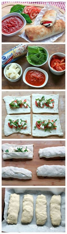 Caprese Calzones With just 5 ingredients and less than 10 minutes of prep, you'll be devouring these calzones in no time! Change dough<br> With just 5 ingredients and less than 10 minutes of prep, you'll be devouring these calzones in no time! I Love Food, Good Food, Yummy Food, Yummy Lunch, Vegetarian Recipes, Cooking Recipes, Healthy Recipes, Pizza Recipes, Easy Cooking