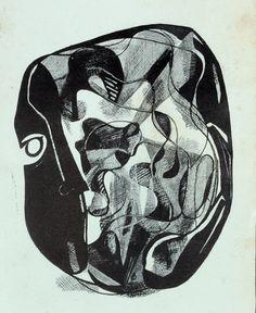 """Fayga Ostrower Ilustração para o livro Poesias 1951 Linóleo em preto sobre papel de arroz 13,2 x 10,0 cm Ilustração de 1951 para o livro """"Poesias"""", de ..."""