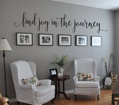 Find Joy in the Journey Quote Vinyl Wall Decal Wall Sticker I love that I can use this as a decor item and also still use the wall for pictures! This measures 8 tall x 40 wide. * Easy to apply and eas Home Living Room, Living Room Decor, Wall Decal Living Room, Apartment Living, Rustic Apartment, Decoration Stickers, Wall Decorations, Aquarium Decorations, Room Wall Decor