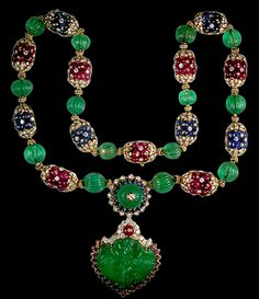 Yafa Jewelry - Van Cleef & Arpels 8kt. Yellow Gold Carved Ruby,Emerald, Sapphire and Diamond Heart Shape Necklace.