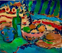 Blue and Green Quartet - Chava Silverman Still Life in vibrant color painted in gouache on paper