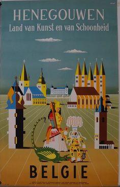 Poster Hainaut Terre d'Art et de Beauté Circa 1950 Conrad - www. Art Graphique, Vintage Tags, Vintage Travel Posters, Vintage Advertisements, Cover Art, Illustration Art, Prints, Circa, Land