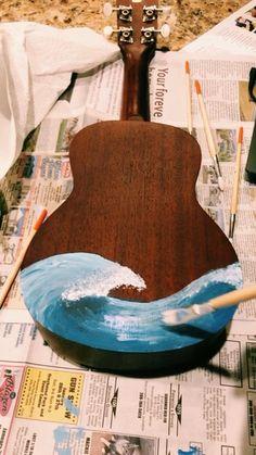 ukulele painting ✨ - New Deko Sites Ukulele Art, Guitar Art, Guitar Painting, Body Painting, Painting Inspiration, Art Inspo, Painted Ukulele, Art Watercolor, Aesthetic Painting