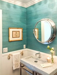 Turquoise Nautical Bathroom Looked for his wallpaper in a tone darker for years. Anyone know who the manufacturer would be