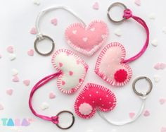 Set of 4 Felt Heart Keyrings, White and Pink, Valentine Gift, Charms, Felt… Valentine Crafts, Valentines, Felt Keychain, Felt Decorations, Felt Fabric, Felt Hearts, Felt Diy, Felt Ornaments, Sewing Crafts