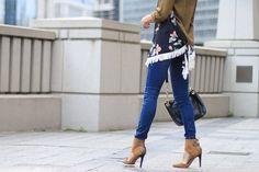 m dot designs, d'orsay pumps, silk blouse, skinny jeans, women's fashion | thefoxandshe.com