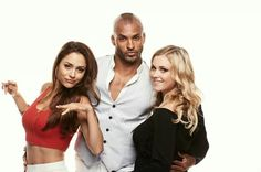 """In this handout photo provided by Warner Bros, Lindsey Morgan, Ricky Whittle, and Eliza Taylor of """"The 100"""" attend Comic-Con International 2014 on July 26, 2014 in San Diego, California. Description from zimbio.com. I searched for this on bing.com/images"""