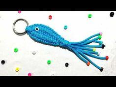 Macrame Art, Macrame Knots, Fish Key, Owl Keychain, Keychains, Survival Knots, Crochet Keychain Pattern, Crochet Beaded Necklace, Crochet Cord