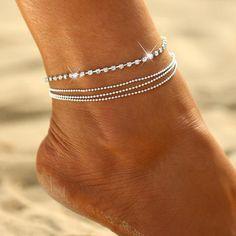 Silver Infinity Tortue perles sirène Sea Shell Starfish Pendentif Bracelet De Cheville