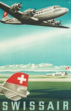 The Swissair Poster Collection – Selections – Galerie 1 2 3 - Original Vintage Posters Retro Poster, Poster Ads, Poster Vintage, Retro Airline, Vintage Airline, Vintage Advertisements, Vintage Ads, Paris France, Swiss Air