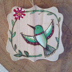 Wood burned hummingbird plaque painting NURSERY ART by melbean
