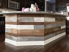 Tongue And Groove Reclaimed Barnwood On A Kitchen Island