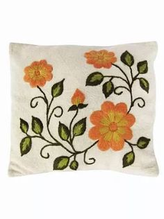 Embroidery Designs Mexican Embroidered Pillows Ideas For 2019 Cushion Embroidery, Embroidery Motifs, Embroidered Cushions, Hand Embroidery Designs, Ribbon Embroidery, Embroidered Flowers, Flower Patterns, Flower Designs, Mexican Embroidery