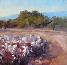 cotton field oil painting in Arizona. sold