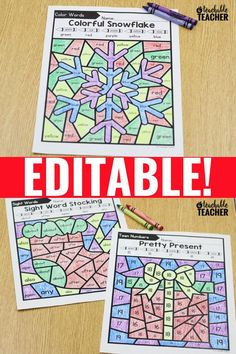 Editable Christmas Color by Code Activities - A Teachable Teacher