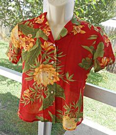 Tommy Bahama Women Button Down Collar Shirt Blouse Tropical Print Silk Sz XS (2) #TommyBahama #ButtonDownShirt #Casual