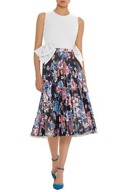 Black Floral Faux Leather Pleated Skirt  by MSGM | Moda Operandi