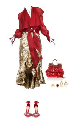 """""""Red and Gold"""" by deborah-518 ❤ liked on Polyvore featuring Johanna Ortiz, Alexander McQueen, Dolce&Gabbana, Oscar de la Renta, Ginette NY and David Yurman"""