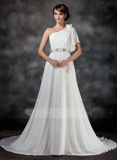 Wedding Dresses - $149.99 - A-Line/Princess One-Shoulder Chapel Train Chiffon Wedding Dress With Ruffle Beadwork Flower(s) (002017386) http://jjshouse.com/A-Line-Princess-One-Shoulder-Chapel-Train-Chiffon-Wedding-Dress-With-Ruffle-Beadwork-Flower-S-002017386-g17386