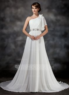Wedding Dresses - $149.99 - A-Line/Princess One-Shoulder Chapel Train Chiffon Wedding Dress With Ruffle Beadwork Flower(s) (002017386) http://jjshouse.com/A-Line-Princess-One-Shoulder-Chapel-Train-Chiffon-Wedding-Dress-With-Ruffle-Beadwork-Flower-S-002017386-g17386?ver=xdegc7h0