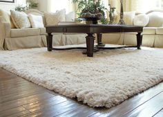 I Like The Light Colored Fluffy Rug In Living Room Over Wood Floors