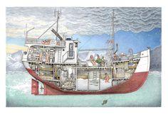 Trawler Yacht, Kodiak Alaska, The Wheelhouse, Coast Guard Cutter, Boat Drawing, Alaska Fishing, Undersea World, Below Deck, Ship Paintings