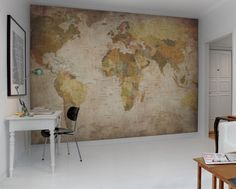 World Map wall murals - wallpaper Rebel Walls This would look amazing in your dining room- Mural wallpaper