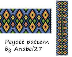 Peyote pattern beadwork wide peyote cuff ethnic by Anabel27shop