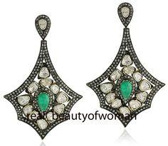 Artdeco Design 5.28ct Rose Antique Cut Diamond Emerald 925 Silver Earring Dangle #realbeautyofwoman