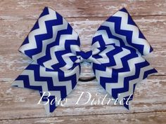 3 Royal Blue and White Chevron Cheer Bow by BowDistrict on Etsy