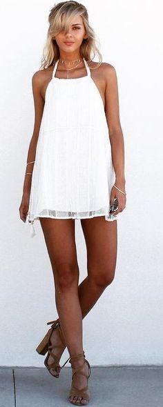#summer #trending #style | Halter Little White Dress