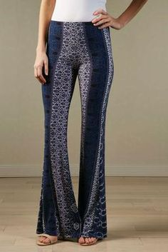 paisley floral striped flare pants