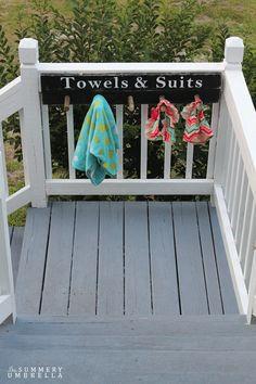 Towel Hanger Pool Dekor Handtuchhalter 12 DIY Backyard Storage Ideas That Will Beautify Your Backyard Beach Towel Storage, Towel Rack Pool, Pool Storage, Backyard Storage, Towel Hanger, Pool Towels, Outdoor Storage, Towel Racks, Piscine Diy
