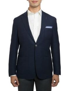 Michael Bastian Slim-fit Notch Lapel Wool Jacket In Navy Michael Bastian, Wool Fabric, Suit Jacket, Slim, Blazer, Navy, Fitness, Jackets, Shopping
