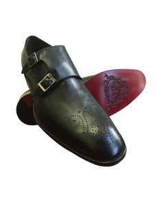 nice Black 100% Leather Monk Strap