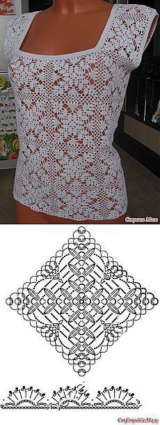 Нарядный топ. Blusa feita de quadrados de croche, em linha de algodão fina.