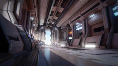 SciFi Corridor, Maxime LARIVIERE on ArtStation at http://www.artstation.com/artwork/scifi-corridor