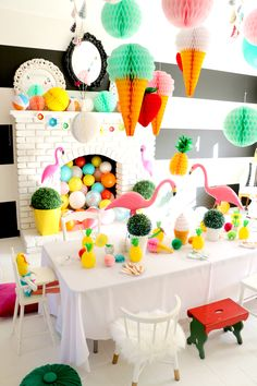 Flamingo Party Ideas Galore. Color Splash Birthday Party by Tiny Little Pads - LENZO #tinylittlepads @tinylittlepads www.tinylittlepads.com