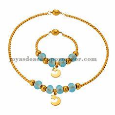 collar y pulsera de bola cristal celeste y dorado con dije luna en acero…