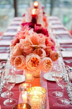 wedding reception tablescapes pictures | wedding reception decor: blush, pink and magenta garden roses, orchids ...