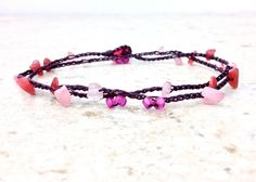 Rose Quartz Wrap Anklet, Metal Free Jewelry for the Beach, by CuriousPurplePig
