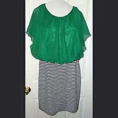 "Green Blue Striped Dress. Large. NWT. Beautiful dress. Flowy green top. Knit/stretch bottom in blue and white stripes. Length: 36"". Armpit to armpit: 19"". Waist: 34"". Hips: 40"". Corey P Dresses"