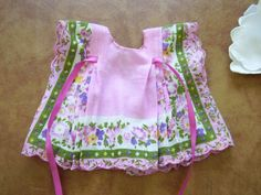 Summery Mauve Flowered Hanky Doll Dress and Bonnet by ReenyArts