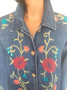 Coldwater Creek Women M Denim Jeans Jacket Floral Embroidered Designer Fashion   | eBay