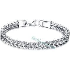87c4cd5cd1ce Cool Silver Tone Stainless Steel Wheat Link Chain Men s Boy s Bracelet New Boys  Bracelets