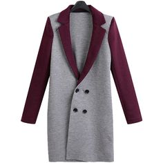 Yoins Plus Size Double Breasted Longline Coat with Label Collar (535 ARS) ❤ liked on Polyvore featuring outerwear, coats, coats & jackets, grey, women's plus size coats, collar coat, plus size coats, longline coat and long grey coat