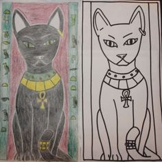 Our group's topic was an Egyptian Cat. For our designs we had a large cat, one was a straight on view and the other was a side profile. We incorporated hieroglyphics into our designs containing the main colors gold, blue, and red. Black and green were also used in creating our designs.