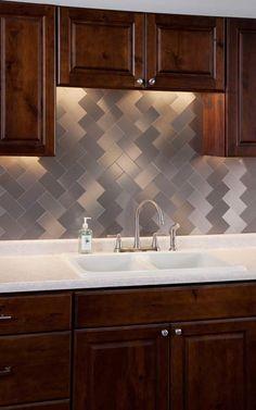 Image Detail for - . for Aspect 3x6 Brushed Stainless Long Grain Metal Backsplash Tile